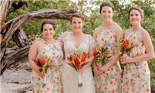 Margaritaville Beach Resort Playa Flamingo - Bride and Bridesmaids Pose on Beach