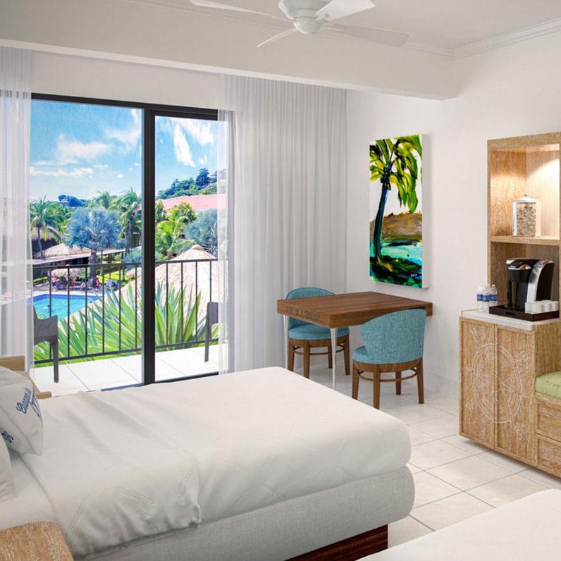 Habitación con vista a la piscina Dos camas dobles